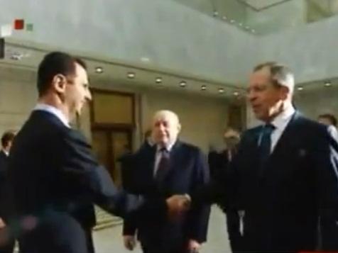 שר החוץ הרוסי סרגיי לברוב, בפגישה עם הנשיא אסד