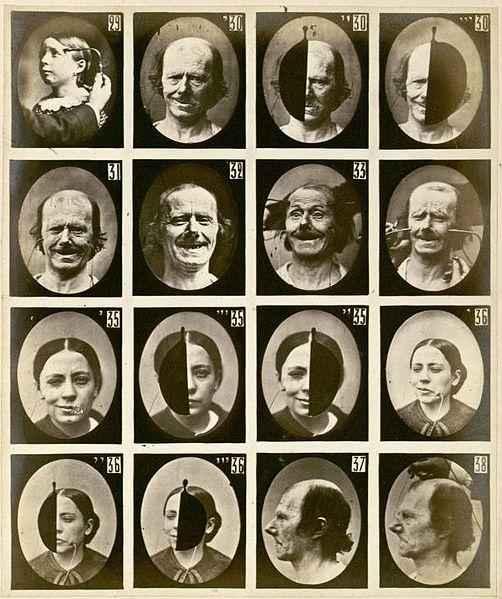 """הבעות פנים בעקבות גירוי חשמלי, מתוך """"Mécanisme de la Physionomie Humaine"""", 1862"""