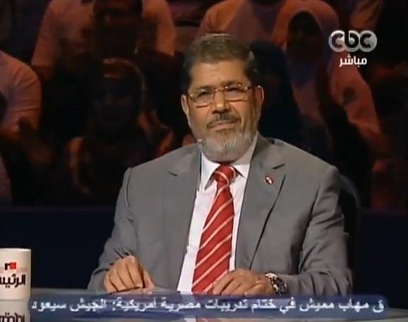 נשיא מצרים הנבחר, מוחמד מורסי, בהופעה טלוויזיונית (צילום מהטלוויזיה המצרית)