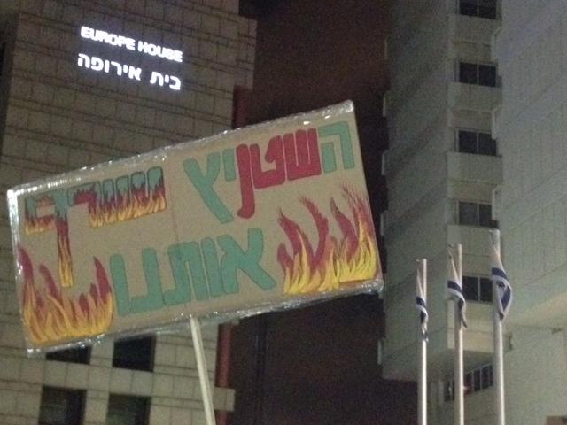 קריאות ושלטים נגד נתניהו ושטייניץ בהפגנה  (צילום: שרון ליבנה)