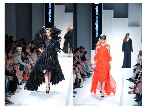 מימין: שמלה בעיצוב Massimiliano Ponta; משמאל: שמלה בעיצוב Veronica Luna. צילום: ליאור סוסנה