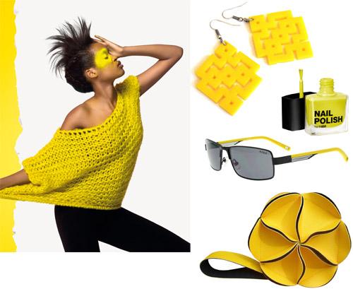 צהוב עולה: עגיל ריבועים צהוב ארט דקו - בארוניקא; לק צהוב - H&M; משקפי שמש Aigle - אורביטה; תיק מדאו בלוסום; צילום דוגמנית מתוך קטלוג סתיו-חורף 2012/13 של בנטון