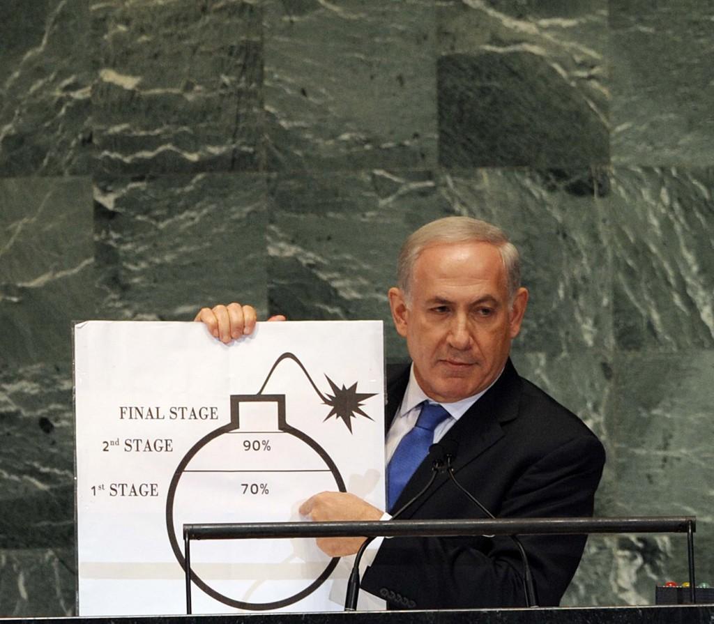 """נתניהו והקו האדום מול איראן. (צילום: אבי אוחיון/לע""""מ)"""