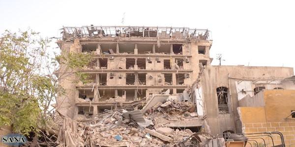 בית המלון שהושמד בפיגוע (צילום: סוכנות סאנא)