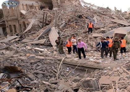 בניינים קרסו בחאלב (צילום: סוכנות סאנא)