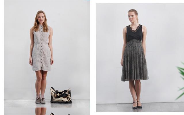 עיצובים של בוגרות מיזם דומה שהתקיים בעבר. מימין: שמלה בעיצוב תמר פיס; משמאל: שמלה בעיצוב אליסון שומרוני. צילומים: כנרת לוי
