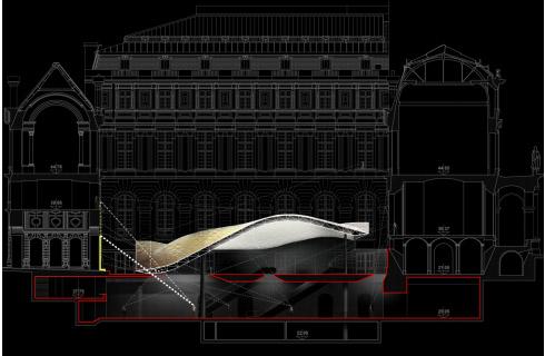 שרטוט - האגף החדש במוזיאון הלובר. באדיבות האדריכלים מריו בליני ורודי ריקיוטי