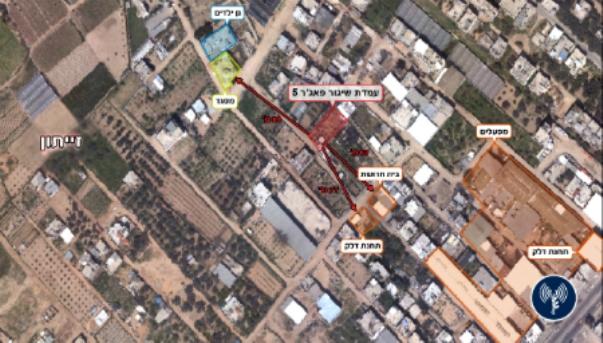 צלום אווירי של שכונת זייתון ברצועת עזה, בה תוכלו לראות היכן מיקמו ארגוני הטרור את משגר טילי הפאג