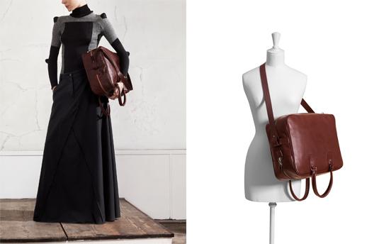 """תיק עור """"מעלה-מטה"""" גדול, סוודר גרב וחצאית מכנס שחורה. צילום: Maison Martin Margiela with H&M"""