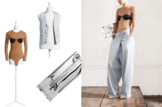 "ג'ינס אובסייז, ""חליפת גוף"" עם אשליית חזייה, קלאץ' סוכריה כסוף, ווסט ג'ינס. צילום: Maison Martin Margiela with H&M"