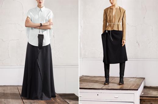 ז'קט ז'מש, חצאית אוברסייז, חולצה לבנה, שמלת מכנס שחורה, תיק כפפות. צילום: Maison Martin Margiela with H&M