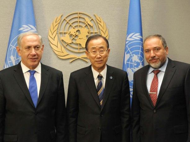 """נתניהו וליברמן עם מזכ""""ל האו""""ם (צילום: אבי אוחיון, לע""""מ)"""