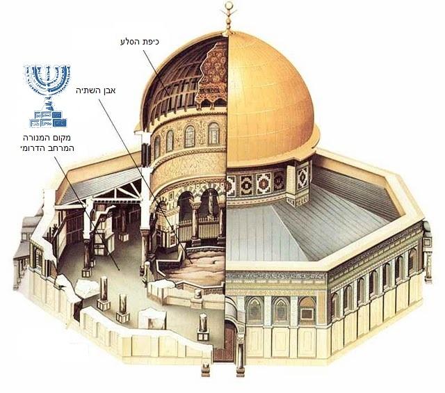 """מקום המנורה במרחב הדרומי בכיפת הסלע' עפ""""י איור של ארגוני המקדש (באדיבות המטה המשותף של אירגוני המקדש)"""