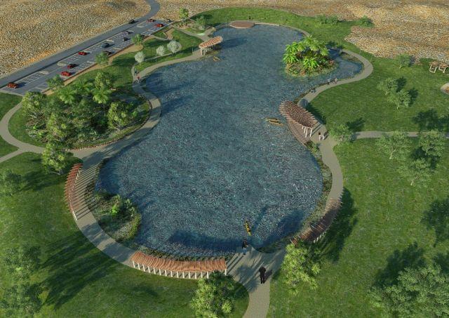הדמייה של הפארק  על שם דוד בן גוריון המתוכנן ברעננה, כשבלבו האגם. ישדרג את שעות הפנאי של התושבים