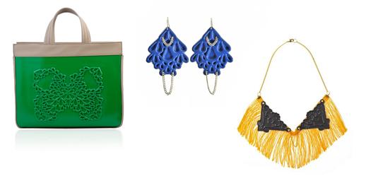 מימין לשמאל: מדוזה אונרמנטיקה - שרשרת פרנזים. מדוזה אונרמטיקה - עגילי טיפה גדולים. תיק גב ירוק. צילומים: עומר מסינגר