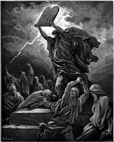 משה שובר את לוחות הברית, באיור של גוסטב דורה