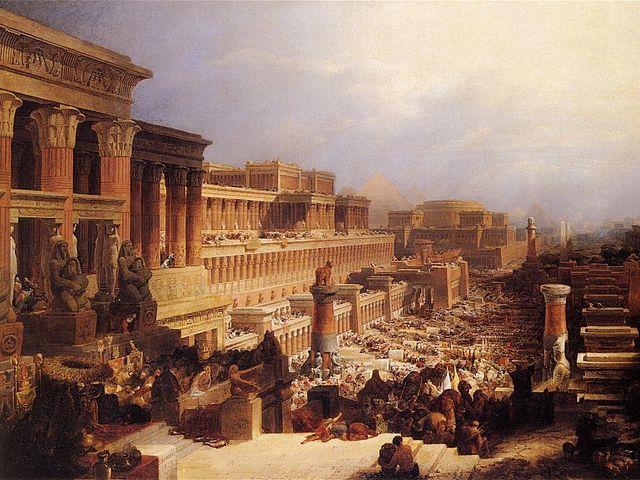 בני-ישראל יוצאים ממצרים. ציור מאת דייוויד רוברטס משנת 1828 (מקור: ויקימדיה)