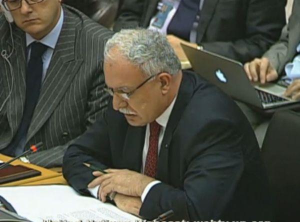 """ריאד אל מלכי, שר החוץ בממשל הפלסטיני, בנאומו באו""""ם (מקור: אתר האו""""ם)"""