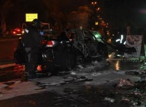 הרכב לאחר הפיצוץ (צילום: משטרת ישראל)