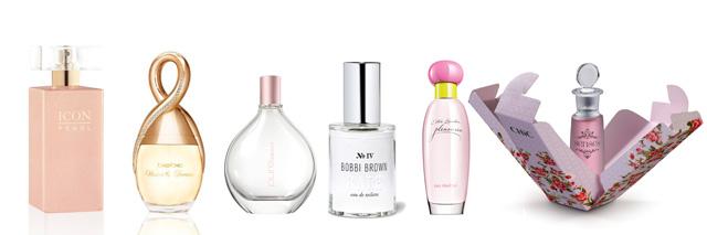 """מימין לשמאל: בושם Senses של Chic. צילום: אלון גונן; """"פלז'רס או פרש"""" של אסתי לאודר. צילום: יח""""ץ; Bath Fragrance של בובי בראון. צילום: יח""""ץ חו""""ל; Pure Rose, DKNY. צילום: יח""""ץ; BEBE - """"ווישס אנד דרימס"""". צילום: יח""""ץ חו""""ל; ICON PEARL EAU DE PERFUME FOR WOMEN ג'ייד. צילום: יוסי סליס; עריכה גרפית: מירה-בל גזית"""
