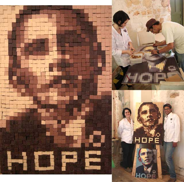 דיוקן מפוקסל של אובמה עשוי משוקולד בכמה גוונים. היוצרים, שי מרסי ושרי רויז בתהליך ההכנה ולצידיה של היצירה המוגמרת. צילומים: אסף שליו.
