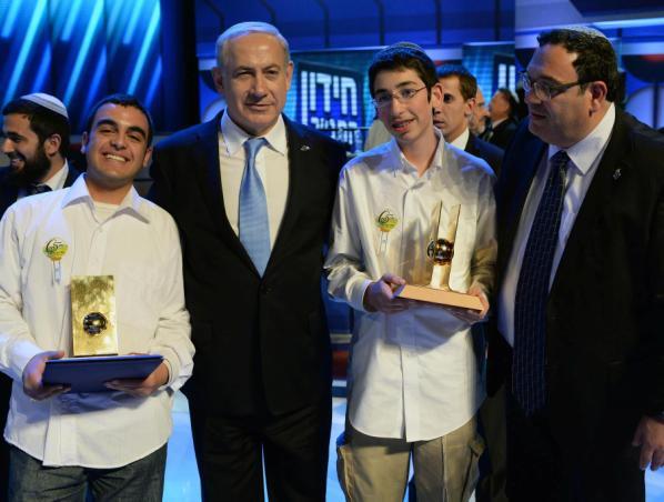 """שר החינוך ורוה""""מ עם אייזנברג מימין, ובביאן משמאל (צילום: קובי גדעון / לע""""מ)"""