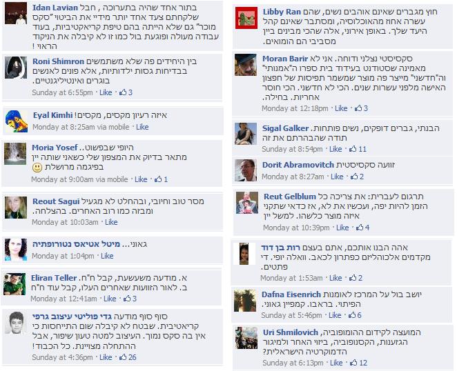 אוסף של ביקורות חיוביות ושלילות בפייסבוק על העבודות