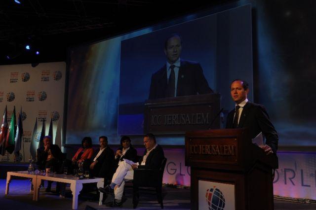 ראש עיריית ירושלים, ניר ברקת, בוועידה הקודמת. לדבריו, ירושלים היא העיר המובילה בחדשנות בתיירות (צילום: משה מילנר)