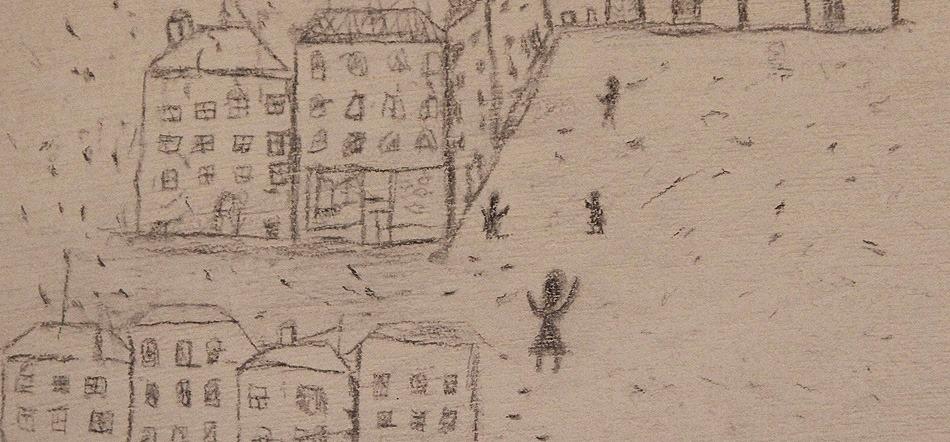 אחד מציורי הילדים המוצגים בתערוכה (צילום: מעמוד הפייסבוק של יד ושם)