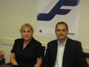 מימין לשמאל: פאולו זמפיירי, האחראי לנציגות פינאייר בישראל ומנהלת הנציגות רחל מור