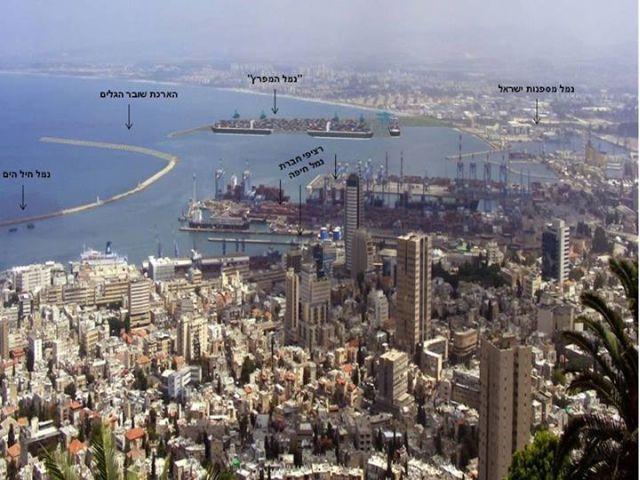המיקום של נמל המפרץ החדש באזור הצפוני של מפרץ חיפה. הדמיה: משרד התחבורה