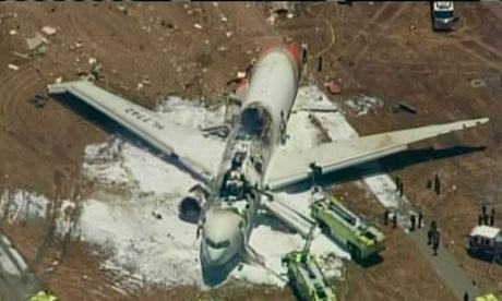 מראה המטוס לאחר שכובו הלהבות