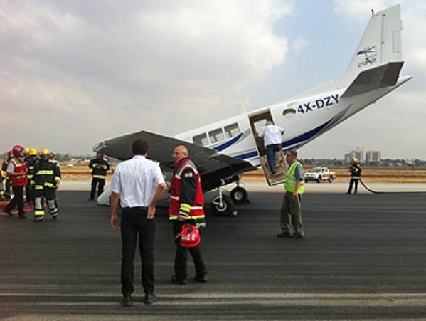 המטוס לאחר הנחיתה (צילום: באדיבות רשות שדות התעופה)