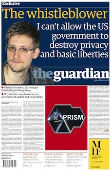 סנודן מקשט את שער עיתון הגרדיאן הבריטי