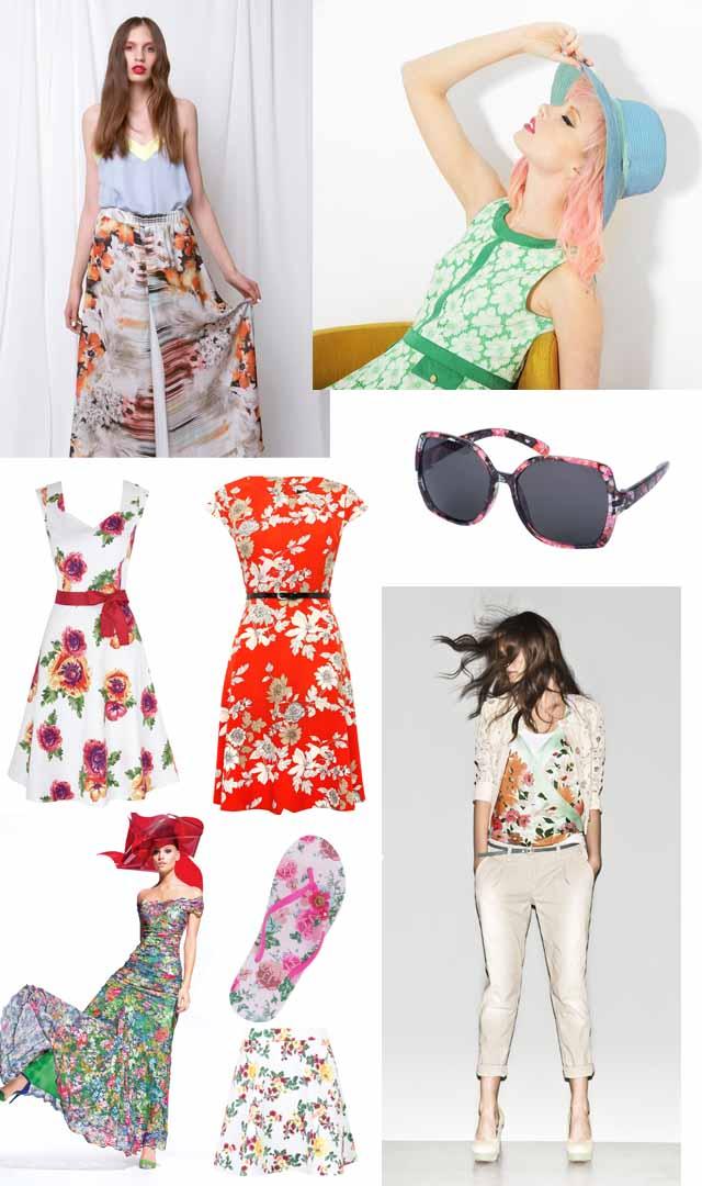 נעמה בצלאל - שמלה ירוקה פרחונית. צילום: איתן טל; אווה מנדלבאום - חצאית פרחונית; משקפיים פרחוניים - מרקס אנד ספנסר; שמלה אדומה פרחונית אוריינטלית - M&Co; שמלה פרחונית על רקע לבן - Monsoon; חולצה פרחונית - סיסלי; כפכפים - אקססורייז; חצאית - Missguided; שמלה - olvis; עריכה גרפית: מירה-בל גזית