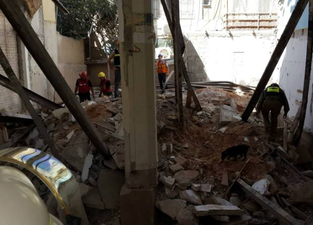 ההריסות לאחר הקריסה (צילום: משטרת ישראל)