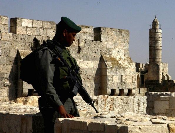"""שוטר מג""""ב על החומות (צילום: משטרת ישראל)"""