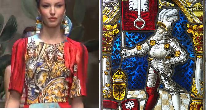 מימין: ויטראז' אביר שוויצרי, עבודה מהמאה ה-16 (וויקיפדיה). משמאל: הדפס אבירים בקולקציית דולצ'ה וגבאנה לאביב-קיץ 2013