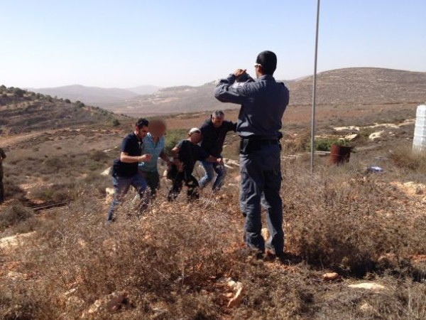 """משטרת ש""""י עוצרת את אנשי המאחז  (צילום: הקול היהודי)"""