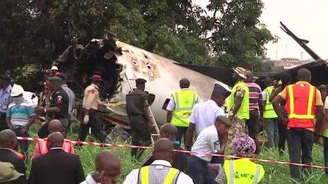 שברי המטוס שהתרסק בלאגוס