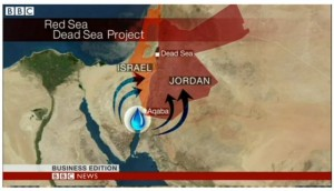 תוכנית red sea dead sea. מעקבה אמורים המים לעבור בצינורות ובמנהרה עד לאזור הנמצא מדרום לים המלח. (צילום מתוך כתבת הבי בי סי)