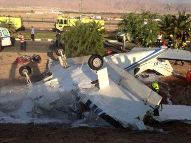 המטוס שהתרסק באילת, לאחר ניסיון שנכשל ללכת סביב.