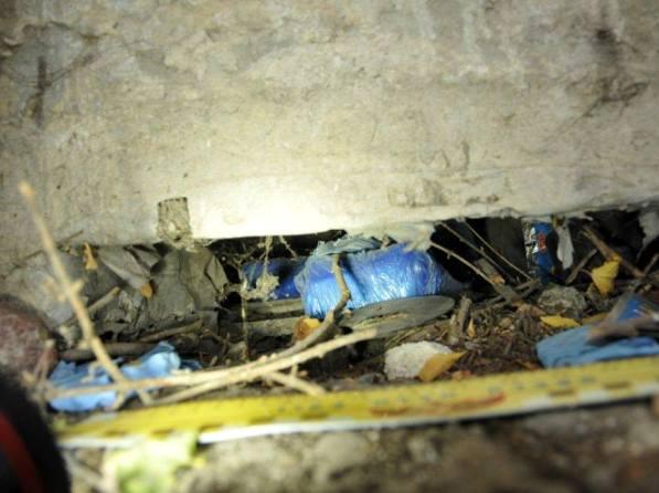 החומרים טמונים מתחת למבנה (צילום: משטרת ישראל)