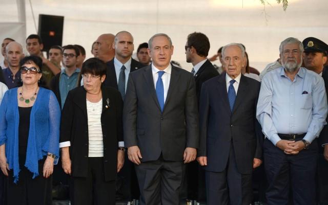 """הנשיא וראש הממשלה בטקס לזכר דוד ופולה בן גוריון (צילום: מארק ניימן/לע""""מ)"""