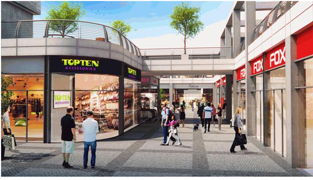 שדרת חנויות במרכז G המתוכנן ביבנה (הדמיה)