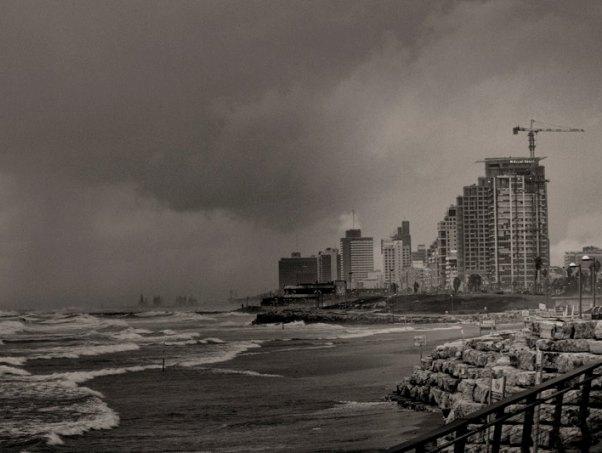 """חוף הים בת""""א בסערה (צילום: דן בר דוב)"""