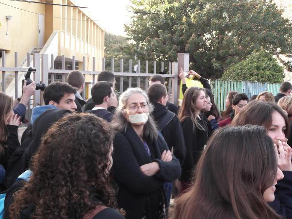 הפגנת התלמידים בטבעון (צילום: נעה שפיגל)