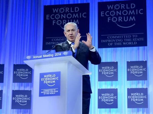 """רה""""מ נתניהו בנאומו בפורום הכלכלי העולמי (צילום: קובי גדעון/לע""""מ)"""
