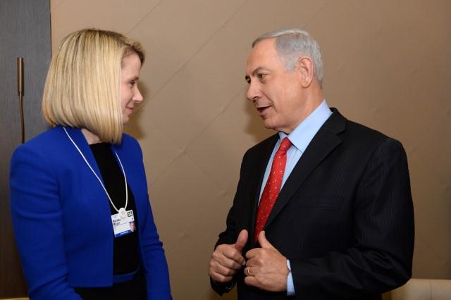 """ראש הממשלה נתניהו בפגישה עם נשיאת יאהו, מריסה מאייר (צילום: קובי גדעון/לע""""מ)"""