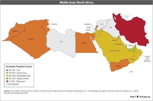 החופש הכלכלי במזרח התיכון - ישראל בכתום (מקור: heritage.org)